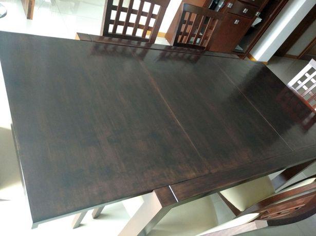 Stół drewniany Bellagio rozłożony 180x90 - 120x90 Venge Wenge krzesła