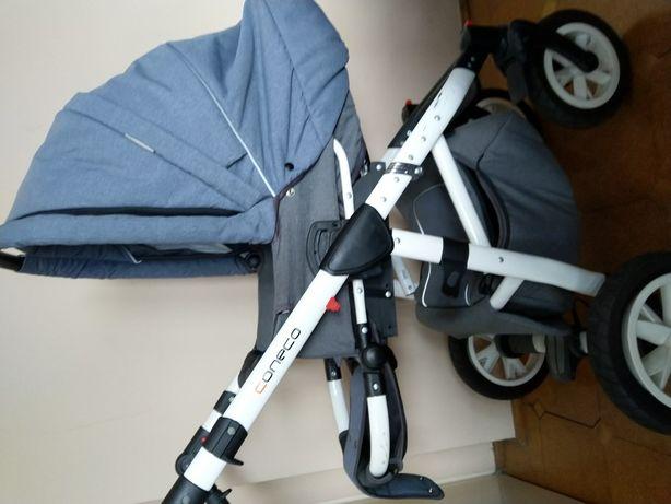 Piękny wózek dziecięcy, szaro niebieski, chłopiec lub dziewczynka