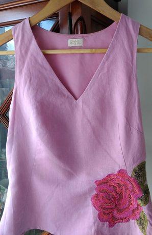 Top de linho rosa Globo com bordado