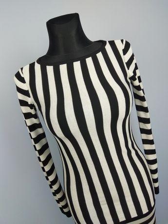 Sukienka dzianinowa długi rękaw w paski 34/XS