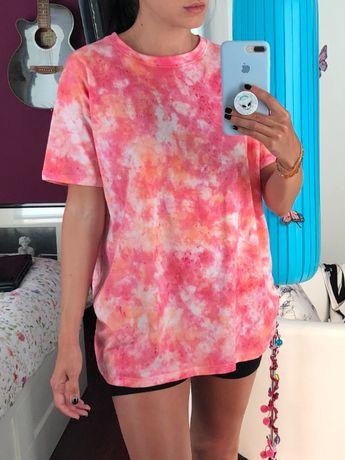 Tshirt tie dye rosa/laranja unisexo nova