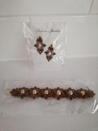 Zestaw biżuterii kolczyki bransoletka