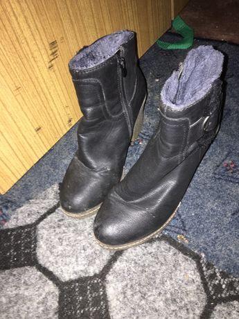 Damskie buty na obcasie obcas ocieplane czarne 38