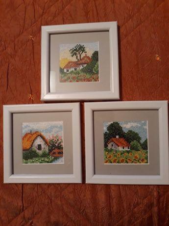 Obrazki wyszywane krzyżykiem - zestaw 3 sztuk, nowe