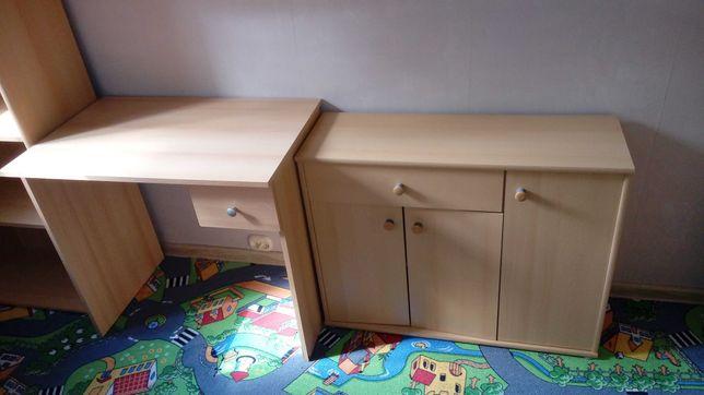komplet regał, biurko, szafka, szafa + tapczan
