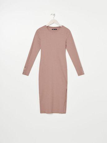 Продам бежевое платье в рубчик