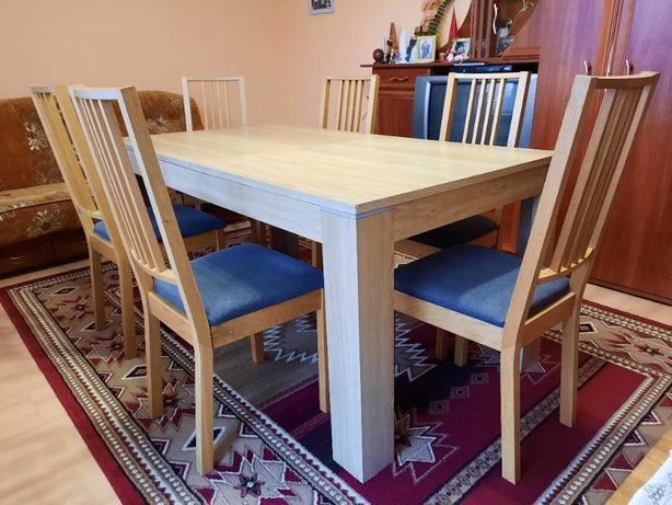 Stół drewniany o wym. 160/90/77 oraz 6 krzeseł
