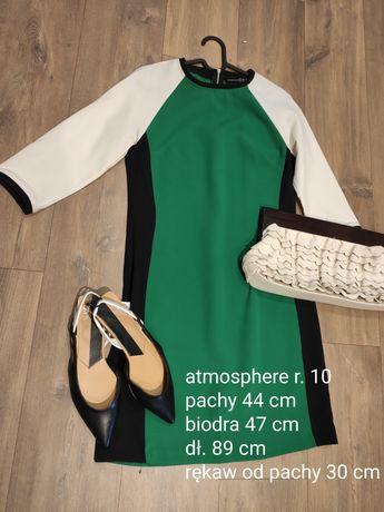 Sukienka mini midi r. M Atmosphere zielony biały czarny prosta