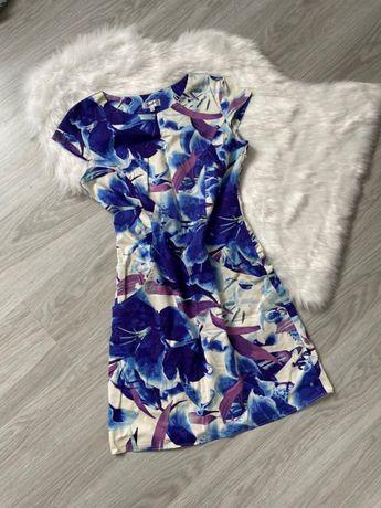 Piękna wizytowa elegancka sukienka kwiaty niebieska kieszenie jak nowa