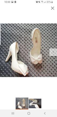 Skórzane buty ślubne białe