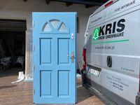 Drzwi zewnętrzne drewniane ANGIELSKIE NIEBIESKIE Od Ręki Cała Polska