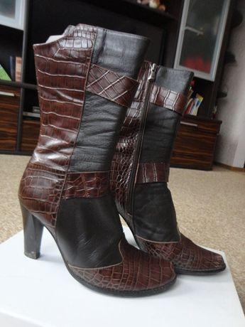 Сапожки женские ботинки полностью кожа принт под рептилию р. 37