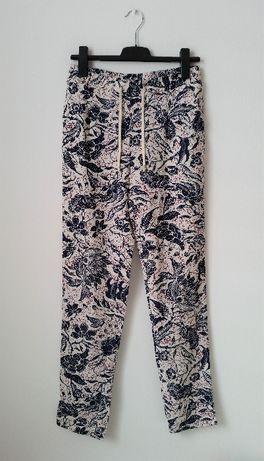 Monnari nowe 38 M spodnie len kwiaty