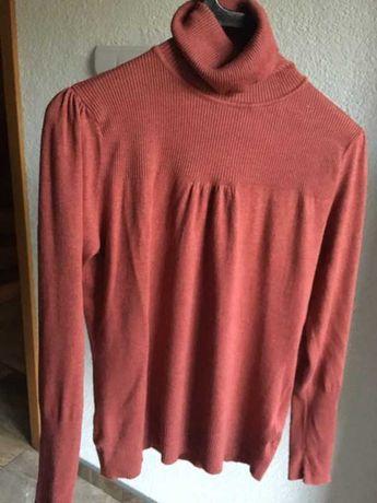 Sweter cegła z golfem basic L 40 ceglasty czerwony golf New Look