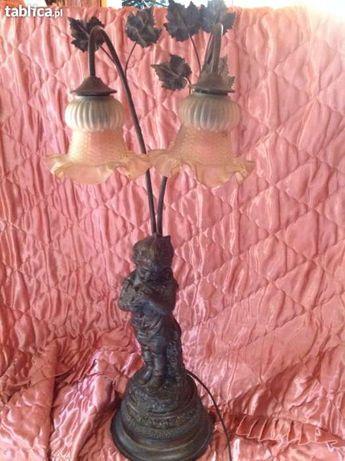 PIEKNA antyczna lampa stojaca ALABASTER rzezba figura