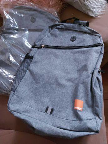 Plecak w kolorze stalowym - materiałowy