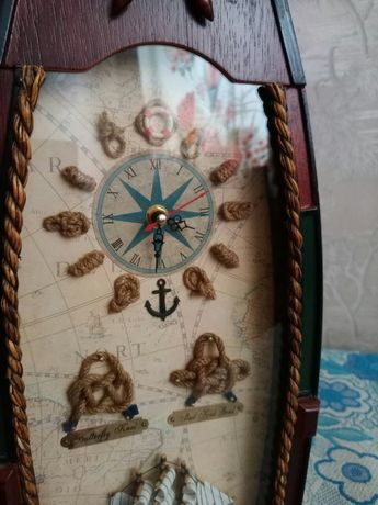 Ключница настенная , настольная, деревянная лодка, морская, часы, ключ