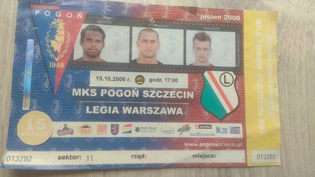 Bilet Pogoń Szczecin Legia Warszawa jesień 2006 kolekcja Grosicki