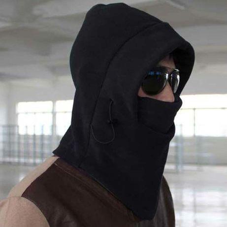 Балаклава теплая маска от ветра черная