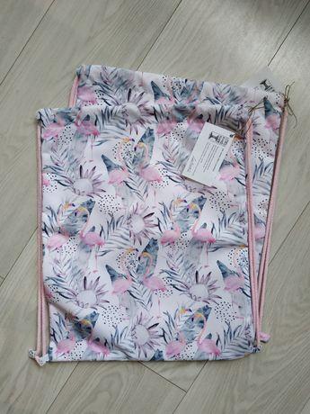 Worko-plecak wodoodporny Flamingi Handmade 2 sztuki!