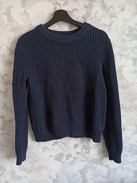 Sweter granatowy sweterek h&m gruby ciepły S 36 damski luźnym splocie