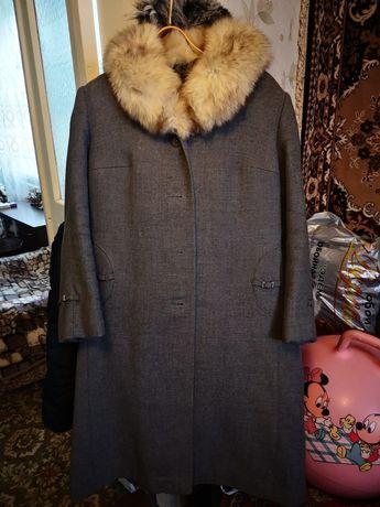 Пальто женское шерстяной с воротником из песца СССР