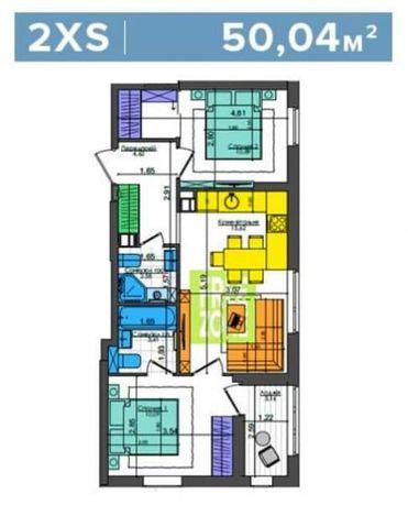 Без %, 2К квартира, 50м2, с ремонтом , ЖК Файна Таун, ул. Салютная, 2.