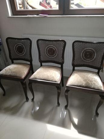Drewniane krzesła + ratan 3szt