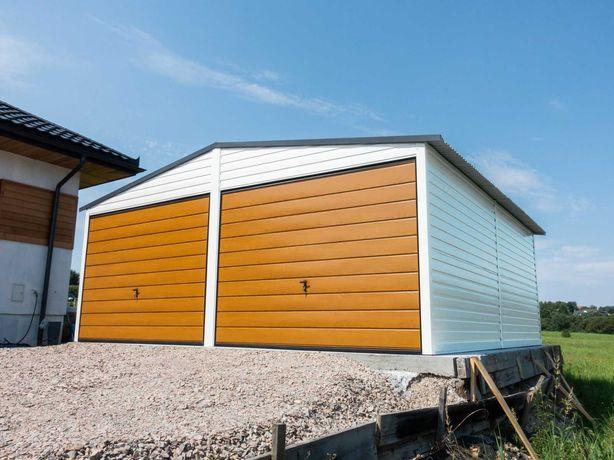 Garaż blaszany PREMIUM 6x6m Biel + Jasny Dąb TRANSTAL.COM