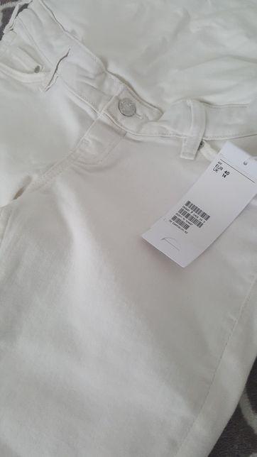 Jeansy ciążowe HM, Nowe, białe, 40, L