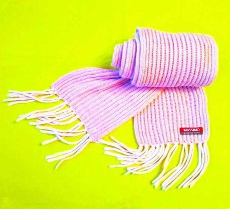Вязаный шарф пудровая роза Massimo Dutti