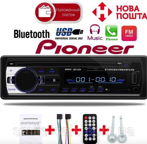 ХИТ!! Мощная магнитола Pioneer JSD-520 с Bluetooth, 2 USB, AUX 4*60 Вт