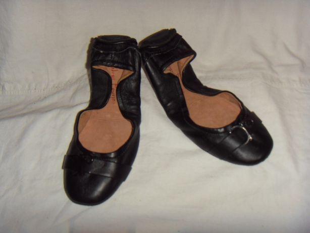 Туфли для танцев, чешки для девочки кожа,нови Couleur Pourpre-37/23