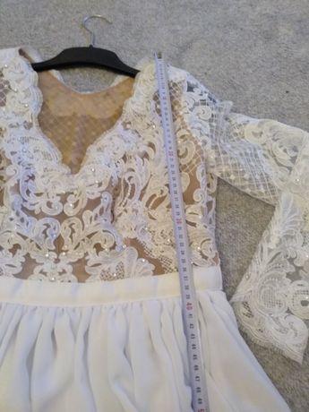 Suknia ślubna, szyta, koronka, cekiny swarovskiego, długi rękaw