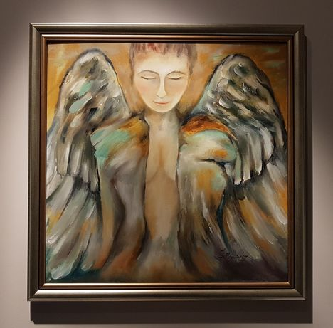 Anioł obraz w złotej ramie 60x60 J. Setkowicz