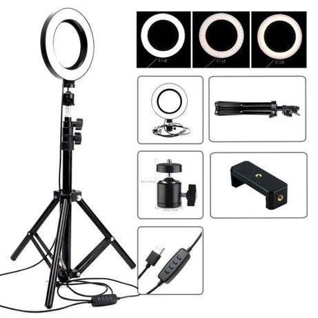 Кольцевая лампа, селфи кольцо 26см с штативом 2м + держатель selfie