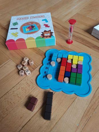 Nowa drewniana układanka logiczna montessori klocki sorter puzzle