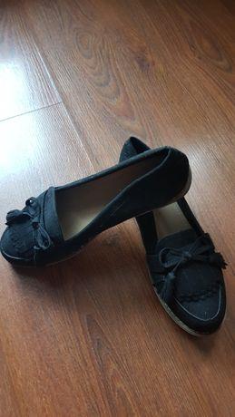 Buty czarne irchowe