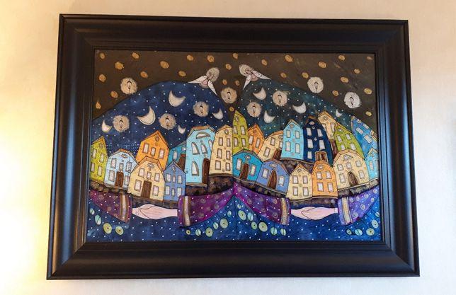 Obraz malowany na szkle Witraż Anioły Noc Miasto Prezent Ślub