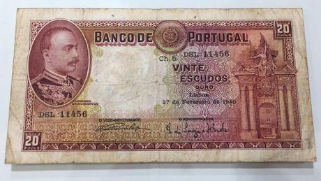 Nota 20 Escudos Portugal 1940
