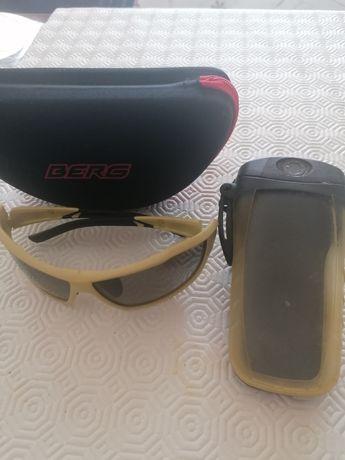 Capacete para bike , óculos sol Berg, bolsa impermeável para telemovel