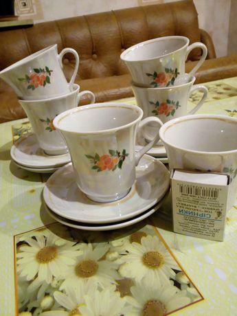 Чашки кофейные с блюдцами новые , наборы 1,2,3