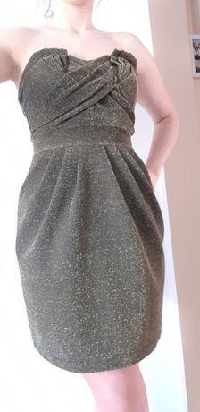 Złoto czarna brokatowa sukienka