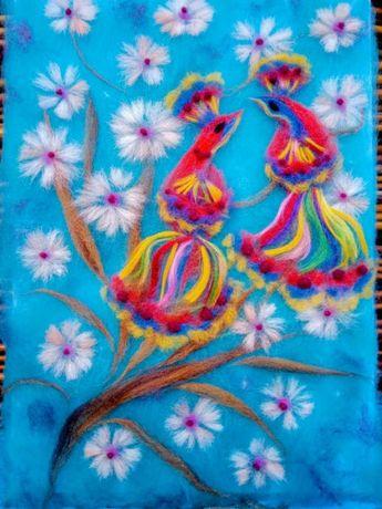 Картина вовняна (шерстяна) акварель Райські пташки