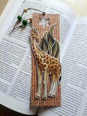 Zakładka do książki z żyrafą ręcznie robiona