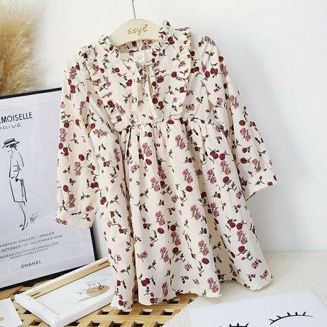 Красивое нежное детское платье Цветочный принт Рюши