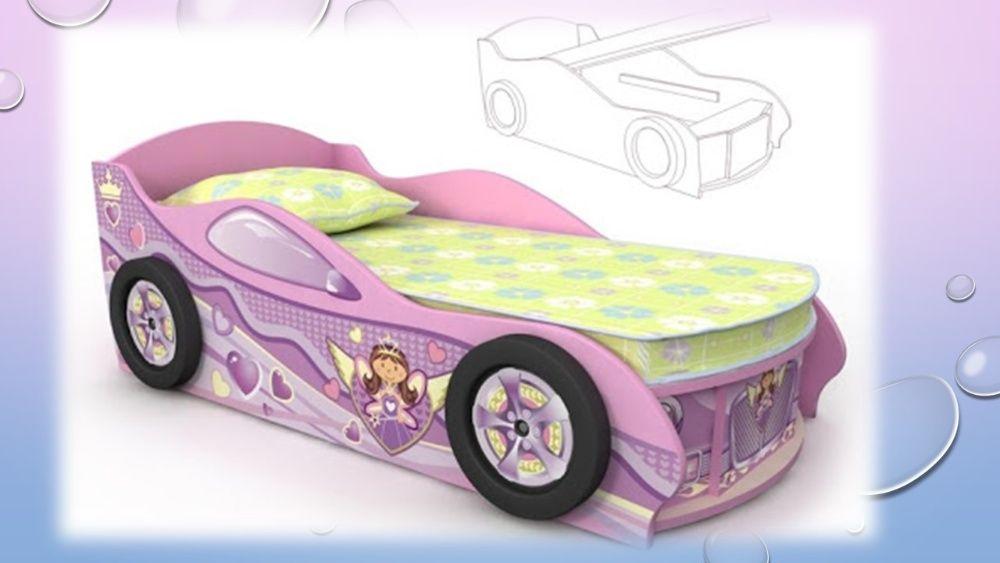 Кровать-машина для девочки, розовая Киев - изображение 1