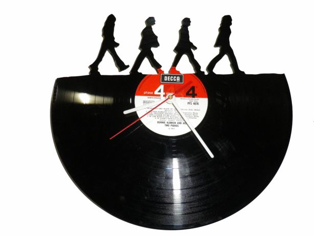 Silhueta decorativa Beatles Abbey Road feita de um disco de vinil LP