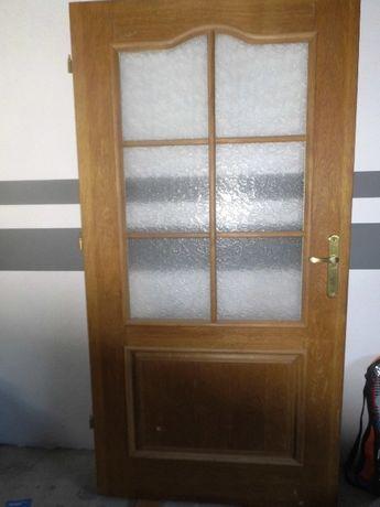 skrzydło drzwiowe drewniane dębowe naturalne