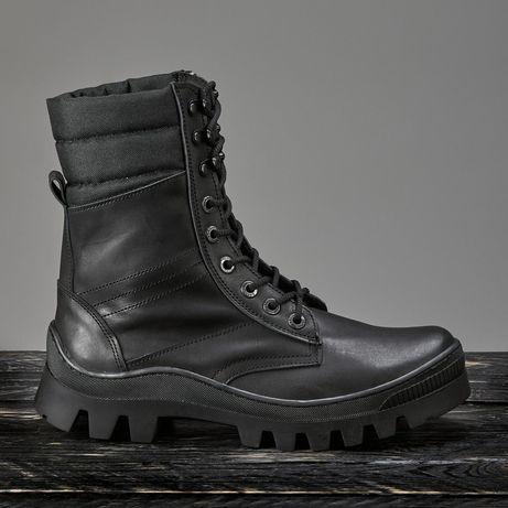 Берцы мужские кожаные черные Ястреб 26-30см робочые